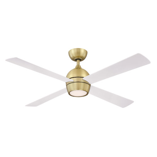 Kwad Brushed Satin Brass 52-Inch LED Ceiling Fan with Matte White Blades