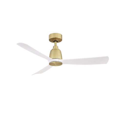 Kute Brushed Satin Brass 44-Inch Ceiling Fan with Matte White Blades
