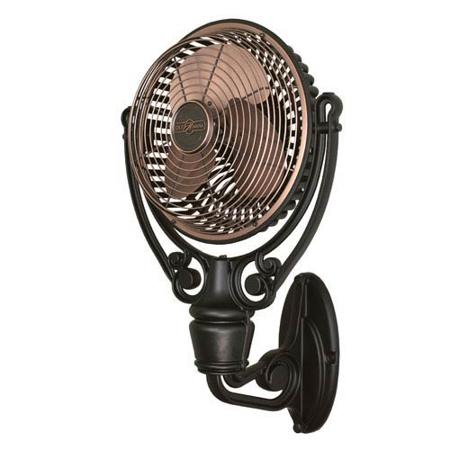 Old Havana Antique Copper Fan with Black Wall Mount