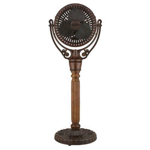 Old Havana Rust Floor Fan with Carved Pedestal Column