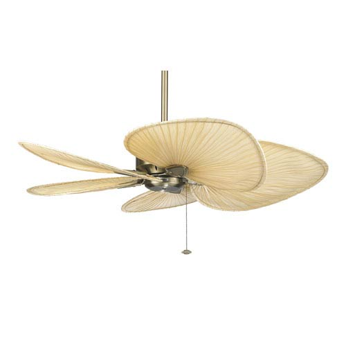 Windpointe Antique Br 52 Inch Ceiling Fan With Natural Palm Blades