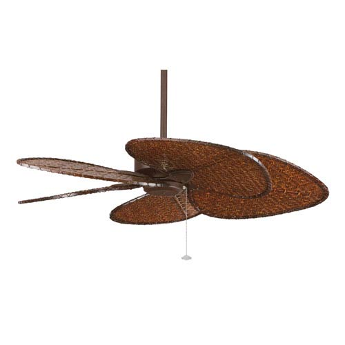 Windpointe Rust 52-Inch Ceiling Fan with Antique Bamboo Blades