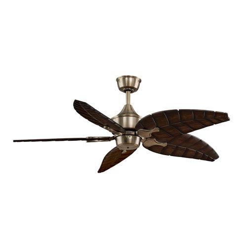 Fanimation Islander Antique Brass Ceiling Fan with Walnut Blades