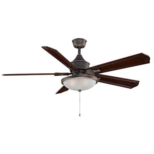 Fanimation Islander Bronze Accent Ceiling Fan with Dark Cherry Blades and Light Kit