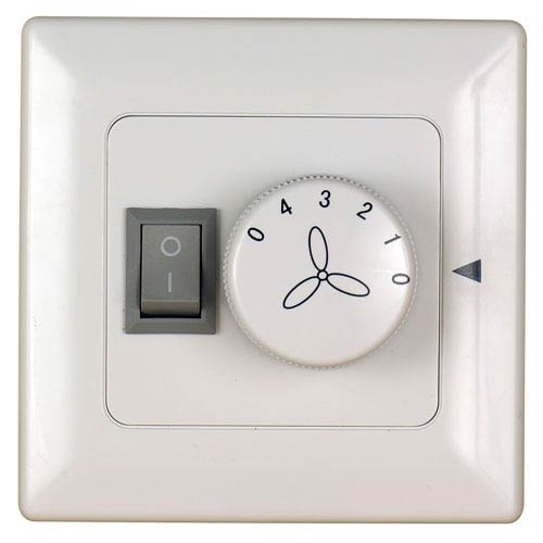 Fanimation White 220V Four Speed Fan and Light Wall Control
