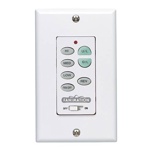 White Fan and White Push Button Wall Control