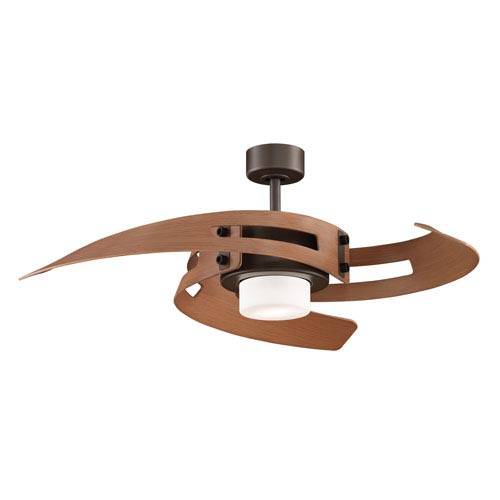 Fanimation Avaston Oil-Rubbed Bronze Ceiling Fan with Cherry Blades and Frosted Opal Glass