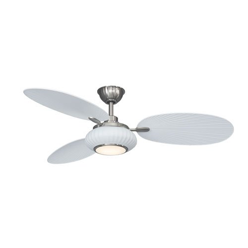 Fanimation Palma Matte White with Brushed Nickel Accents 56-Inch LED Ceiling Fan