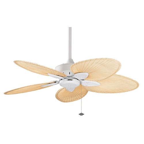Fanimation Windpointe Matte White Ceiling Fan with Narrow Oval Natural Palm Blades