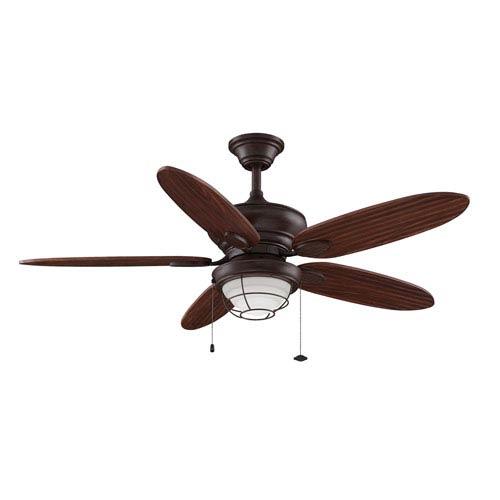 Fanimation Kaya Rust 52-Inch Fluorescent Outdoor Ceiling Fan with Cherry Bronze Blades and Opal Frosted Glass