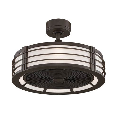 Beckwith Oil Rubbed Bronze 23-Inch Ceiling Fan with Black Blades and Opal White Glass