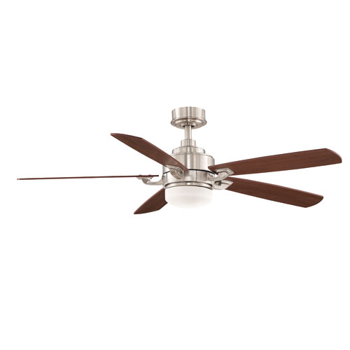 Benito Brushed Nickel 52-Inch 220V Ceiling Fan with Reversible Cherry and Walnut Blades
