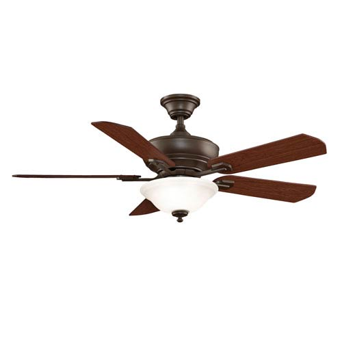 Camhaven Oil Rubbed Bronze Ceiling Fan with Reversible Cherry/Walnut Blades and Frosted White Glass