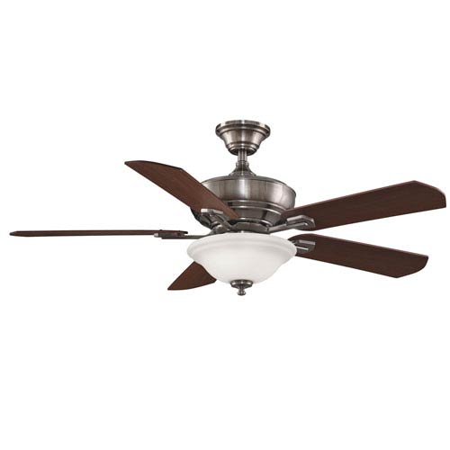 Camhaven Pewter Ceiling Fan with Reversible Cherry/Walnut Blades and Frosted White Glass