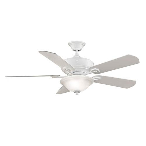 Fanimation Camhaven White Ceiling Fan with Frosted White Glass