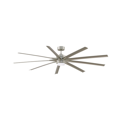 Odyn 84 Brushed Nickel 84-Inch Energy Star Ceiling Fan with Brushed Nickel Blades and LED Light Kit