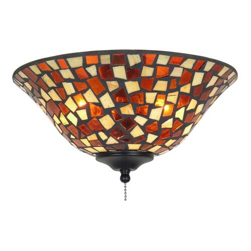 Amber Brown Mosaic 13-Inch Glass Bowl