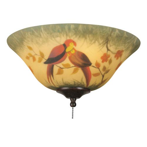 Fanimation Hand-Painted Parrot 13-Inch Glass Bowl