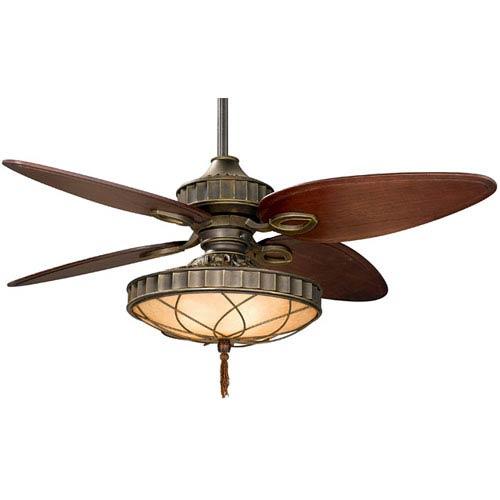 Fanimation Bayhill Venetian Bronze 220V 56 Inch Blade Span Ceiling Fan w/ Cairo Purple Blade