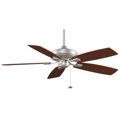 Fanimation Edgewood Decorative Satin Nickel 52-Inch Energy Star Ceiling Fan with Reversible Walnut/Light Walnut Blades
