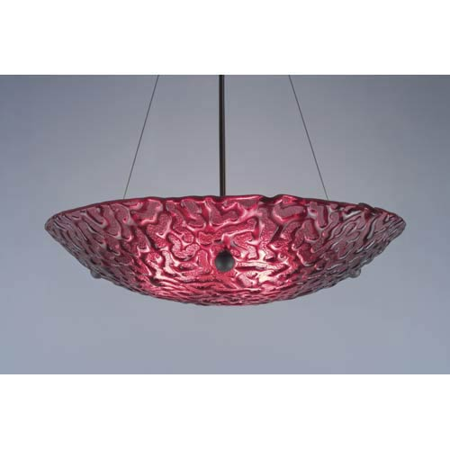 Bowl Phantom Red Bowl Pendant with 53-Inch OA Drop