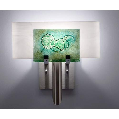 WPT Design Dessy One Wired Green/White Curved Back Wall Sconce