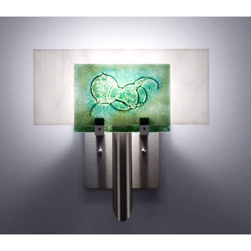 WPT Design Dessy One Wired Green/White Flat Back Wall Sconce