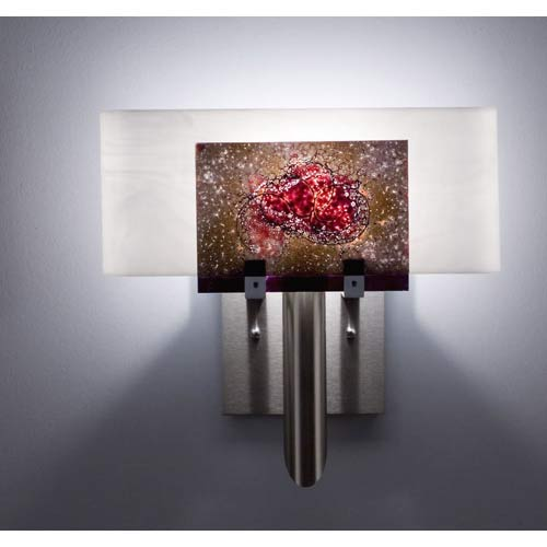 WPT Design Dessy One Wired Rose/White Curved Back Wall Sconce
