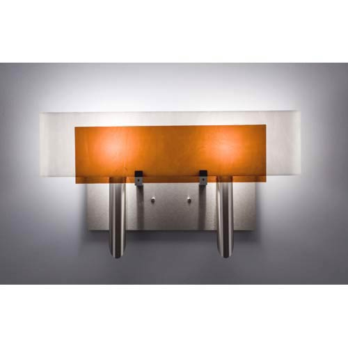WPT Design Dessy Two Amber/White Curved Back Two-Light Bath Fixture