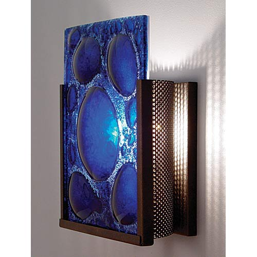 WPT Design F/N One Bronze Half Moon Blue One-Light Wall Sconce