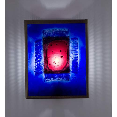 WPT Design F/N Two Fluorescent Red Window Blue Two-Light Wall Sconce