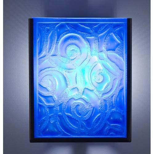 WPT Design F/N Two Fluorescent Whirlpool Blue Two-Light Wall Sconce