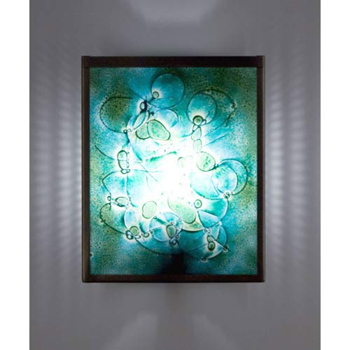 F/N Two Fluorescent Wired Green Two-Light Wall Sconce