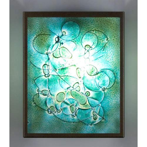 F/N Three Fluorescent Wired Green Two-Light Wall Sconce