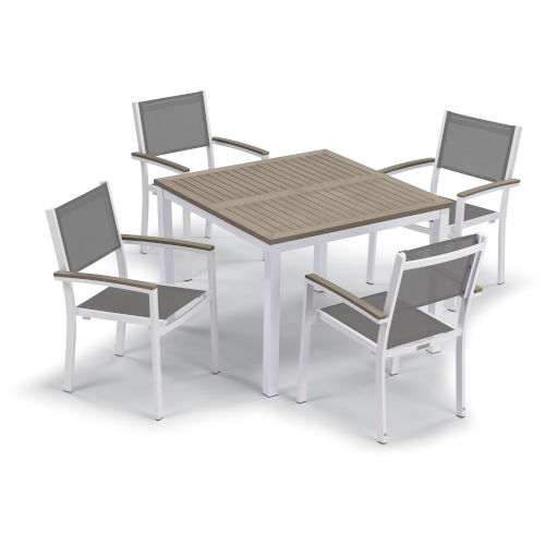 Travira Chalk Titanium Sling and Vintage Tekwood Armcaps 39-Inch Square Dining Table with Four Armchairs