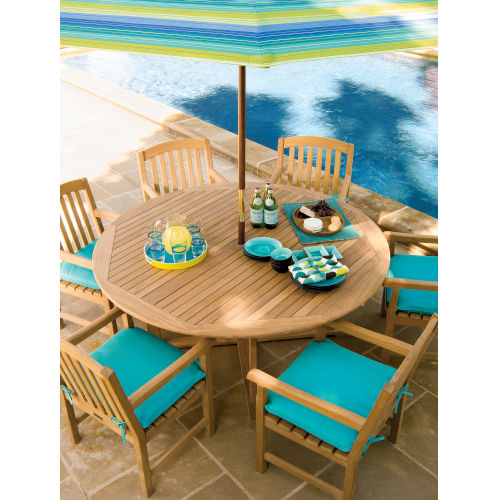 Islay Natural Teak 36-Inch Square Bar Table with Four Bar Chairs