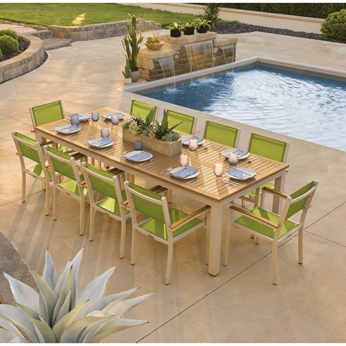 Travira Silver and Tekwood Natural 11-Piece Dining Set With Green Armchairs