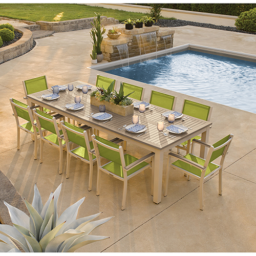 Travira Silver and Vintage 11-Piece Dining Set With Green Armchairs