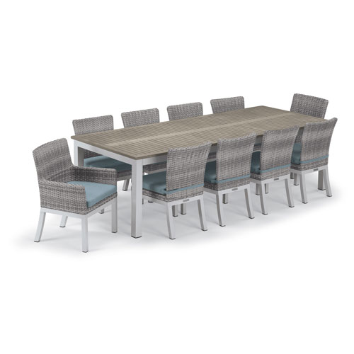 Travira Silver and Vintage 11-Piece Dining Set With Ice Blue Cushions