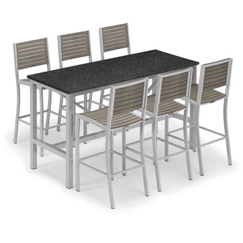 Travira Silver and Vintage 7-Piece Bar Table and Slat Bar Chair Set With Charcoal Table Top