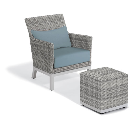 Argento Silver Club Chair and Pouf With Ice Blue Lumbar Cushions
