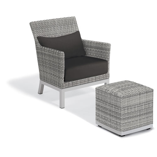 Oxford Garden Argento Silver Club Chair and Pouf With Jet Black Lumbar Cushions