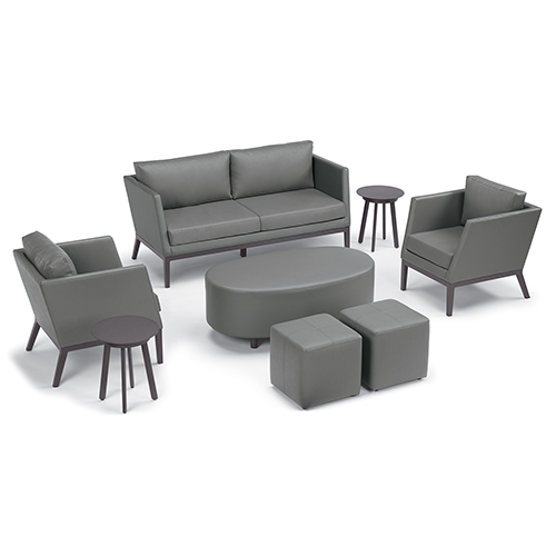 Salino Nickel 8-Piece Chat Set with Coffee Table Pouf and Eiland Tables