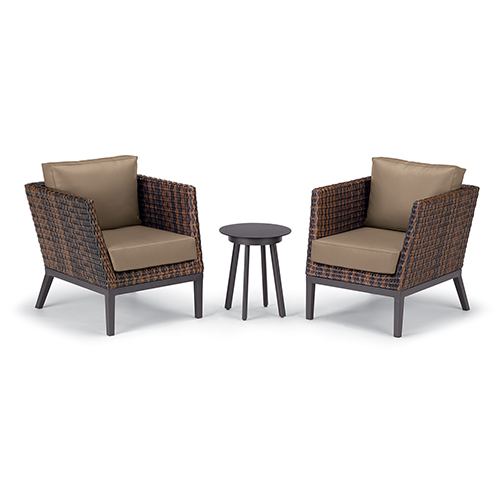 Salino Sable 3-Piece Woven Club Chairs and Eiland Table Chat Set