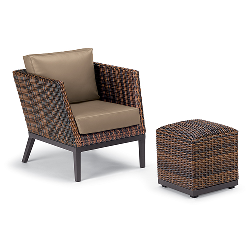 Salino Sable 2-Piece Woven Club Chair and Ottoman Pouf Lounge Set with Truffle Cushions