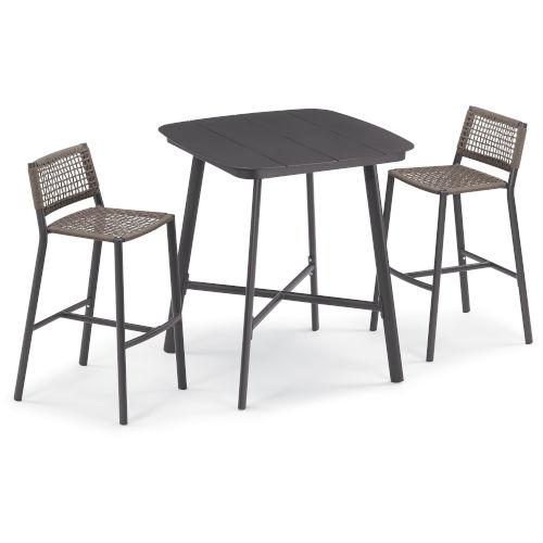 Eiland Carbon and Mocha Outdoor Bar Table Set, 3-Piece