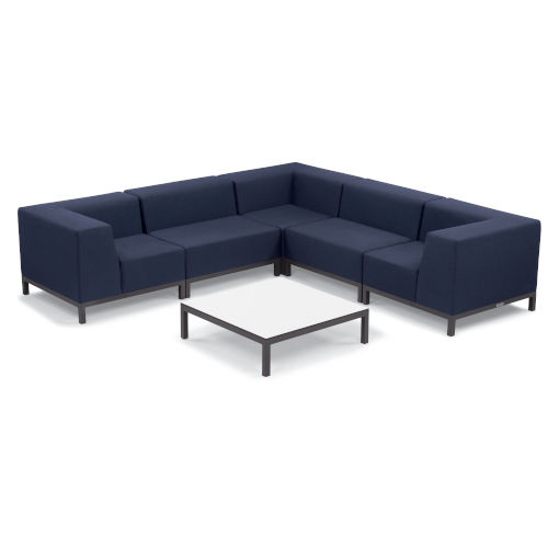 Koral Carbon and Spectrum Indigo Patio Sectional Set and Table, 6-Piece