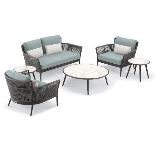 Nette Multicolor Loveseat and Table Set with Cushion, 6-Piece