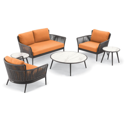 Nette Carbon and Tangerine Patio Loveseat and Table Set, 6-Piece