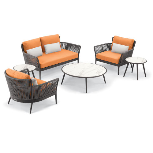Nette Multicolor Patio Loveseat and Table Set with Cushion, 6-Piece